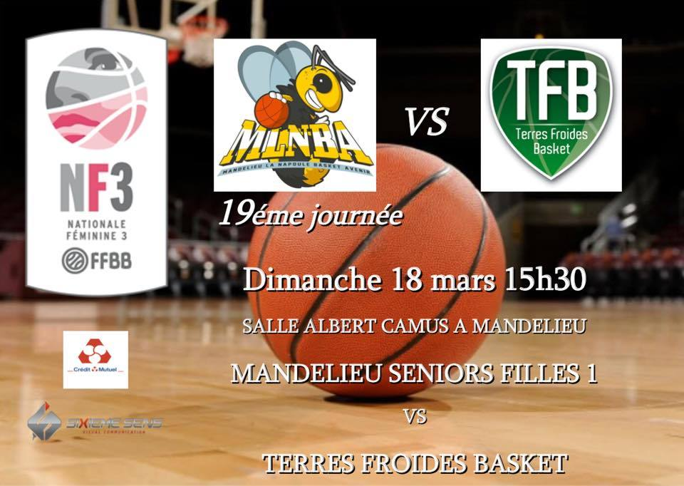 MATCH NF3 MLNBA VS TERRES FROIDES DIMANCHE 18 MARS 2018 - 15H30 A CAMUS